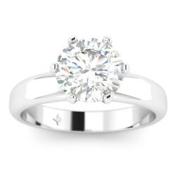 1ct F-vs1 Diamond 4-prong Engagement Ring 14k White Gold Any Size