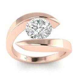 1ct F-vs1 Diamond Tension Engagement Ring 14k Rose Gold Any Size
