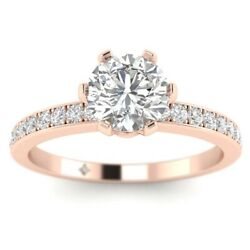 1.28ct F-vs1 Diamond 6-prong Engagement Ring 14k Rose Gold Any Size