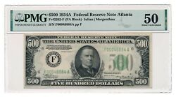 United States Banknote 500 1934a Atlanta Fr2202-f Pmg Au 50 About Uncirculated