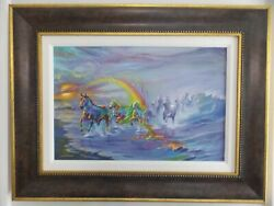Jim Warren And039painted Horses Giclee In Color On Canvas