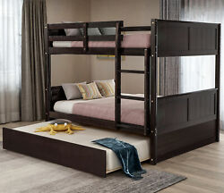 Full Over Full Wood Bunk Bed w Twin Trundle Frame Teen Dorm Furniture Ladder