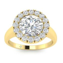 1.25ct H-si2 Diamond Single Halo Engagement Ring 18k Yellow Gold Any Size