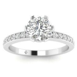 1.28ct H-si2 Diamond Classic Engagement Ring 18k White Gold Any Size