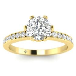 1.28ct H-si2 Diamond Pave Engagement Ring 18k Yellow Gold Any Size