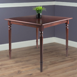 35-in Solid Wood Square Dining Table Turned Legs Traditional Style Walnut Finish