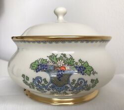 Lenox China Autumn Collection Vegetable Serving Bowl Dish 24k Embossed Pattern