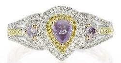 .58ct White Pink And Fancy Yellow Diamond 18kt Tri Color Gold Pear Shape Halo Ring
