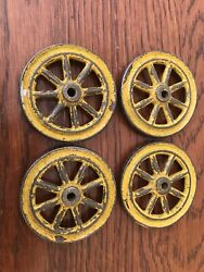 4 Vintage Cast Metal Toy Wagon Tractor Spoke Wheels Chippy Yellow 2