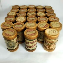 Antique Edison Phonograph Cylinder Recordings 2 Minute Playback Mixed Lot Of 28