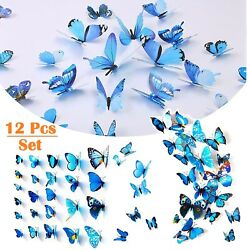 12Pcs 3D Butterfly Wall Stickers Blue PVC Art Decal Room Home Party Decor DIY US