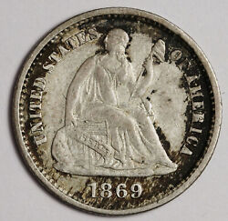 1869-s Liberty Seated Half Dime. Natural Uncleaned. Au-unc. 162784