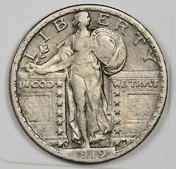 1919-s Standing Liberty Quarter. Natural Uncleaned. Xf. 162901