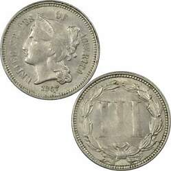 1867 Nickel Three Cent Piece Au About Uncirculated 3c Us Type Coin Collectible