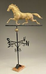 Full Body Copper Dexter Running Horse Weathervane With Directionals.