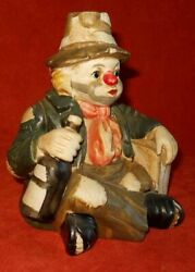 Clown Circus Vintage Pottery Figural Music Box Tattered Red Nose Wine Bottle