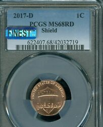 2017-d Lincoln Logo Shield Cent Pcgs Ms68 Rd Pq Mac Finest And Spotless Pop-3