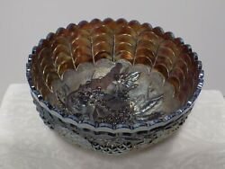 Antique Large Carnival Glass Bowl Amethist Grapes And Leaves