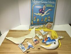 Vintage Toy 1960's Sanitoy Mother Goose Baby Crib Mobile W/ 2pc Support And Box