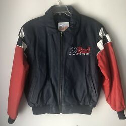 Excelled Budweiser Racing Leather Jacket Size Large Blue Red White Checkered