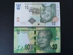 South Africa 10 Rand Unc 2 Editions Pair Rhino And Nelson Mandela Banknotes