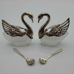 Antique Swan Salt Cellars With Spoons Frosted Glass And Silver Plated Hong Kong