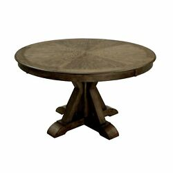 Round Solid Wood Dining Table With Pedestal Base, Light Oak Brown