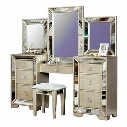 Wooden Vanity Set With Antique Mirror Details And Storage Drawers, Silver