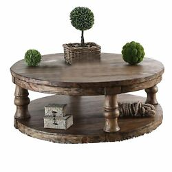Transitional Round Coffee Table With Open Shelf And Turned Legs,antique Oak