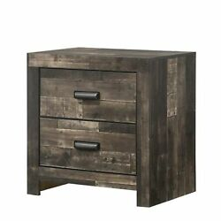 Plank Design 2 Drawer Wooden Nightstand With Horizontal Pulls, Brown
