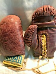 Vintage Hutch Leather Pair Boxing Gloves