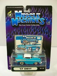 New Muscle Machines '57 Chevy Die-cast Car 1/64 Turquoise 01-19