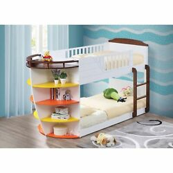 Wooden Twin/twin Bunk Bed With Storage Shelves, White And Chocolate