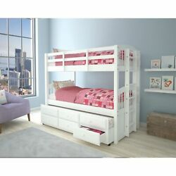 Wooden Twin/twin Bunk Bed And Trundle With 3 Drawers White