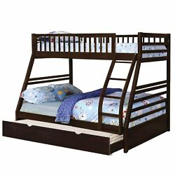 Wooden Twin Over Full Bunk Bed With Attached Trundle Espresso Brown