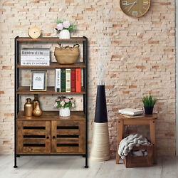 Vintage Rustic Open Bookshelf Bookcase Home Office File Cabinet With Doors