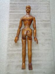 1870 Large Hand Carved Folk Art Articulate Jointed Female Doll Legs Hands Arms