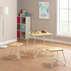 Mainstays Kids 3-piece Finn Metal Frame Play Table And Stool Set White Indoor