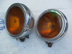 1920and039s-1930and039s 6 Inch Pierce Script Fog Lights With Flat Rims And Squared Rims