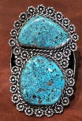 Vintage Large Sterling Silver And Turquoise 2-stone Cuff Bracelet - 242 Grams