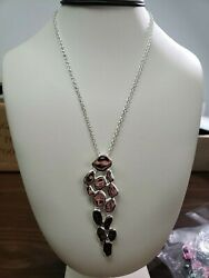 Rlm Bronze Linear Pebble Pendant And Rolo Link Chain Qvc