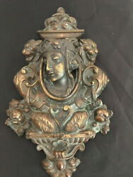 Antique Rare Bronze Wall Plaque Beautiful Woman Lions Head Each Side Two Piece