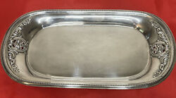 Antique Wallace Rose Point Sterling Silver Tray With Flower Motif. Wt-185 Grams