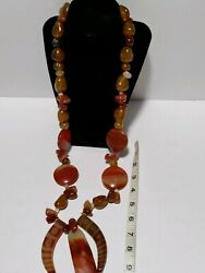 Huge Vintage Baltic Amber And Carnelian Necklace 556 Grams With 10k Gold Clasp