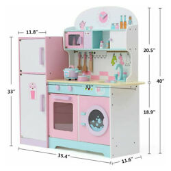 Large Kids Wooden Play Kitchen Pretend Baker Cooker Play Set With Refrigerator