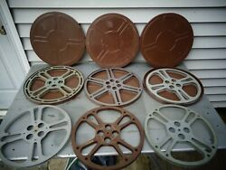 Vintage 6 Movie 16mm Film Reels And 3 Tin Canisters