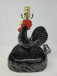 Vintage Rare Painted Ceramic Rooster Table Lamp/dish/ashtray Farmhouse Country