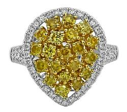 1.55ct White And Fancy Yellow Diamond 18kt 2 Tone Gold Cluster Pear Shape Fun Ring
