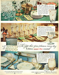 Libbey Every Day Crystal Royal Fern American Antiques Golden Tempo 1957 Print Ad