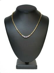 Ri5 14k Two Tone Gold Diamond And Stone Necklace .10 Ctw 29.5gr 16 Long 3.01 Mm